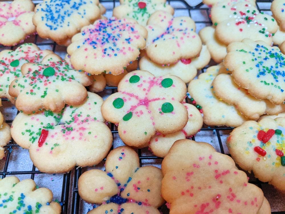 Spritz cookies contain some nice citrus zest.