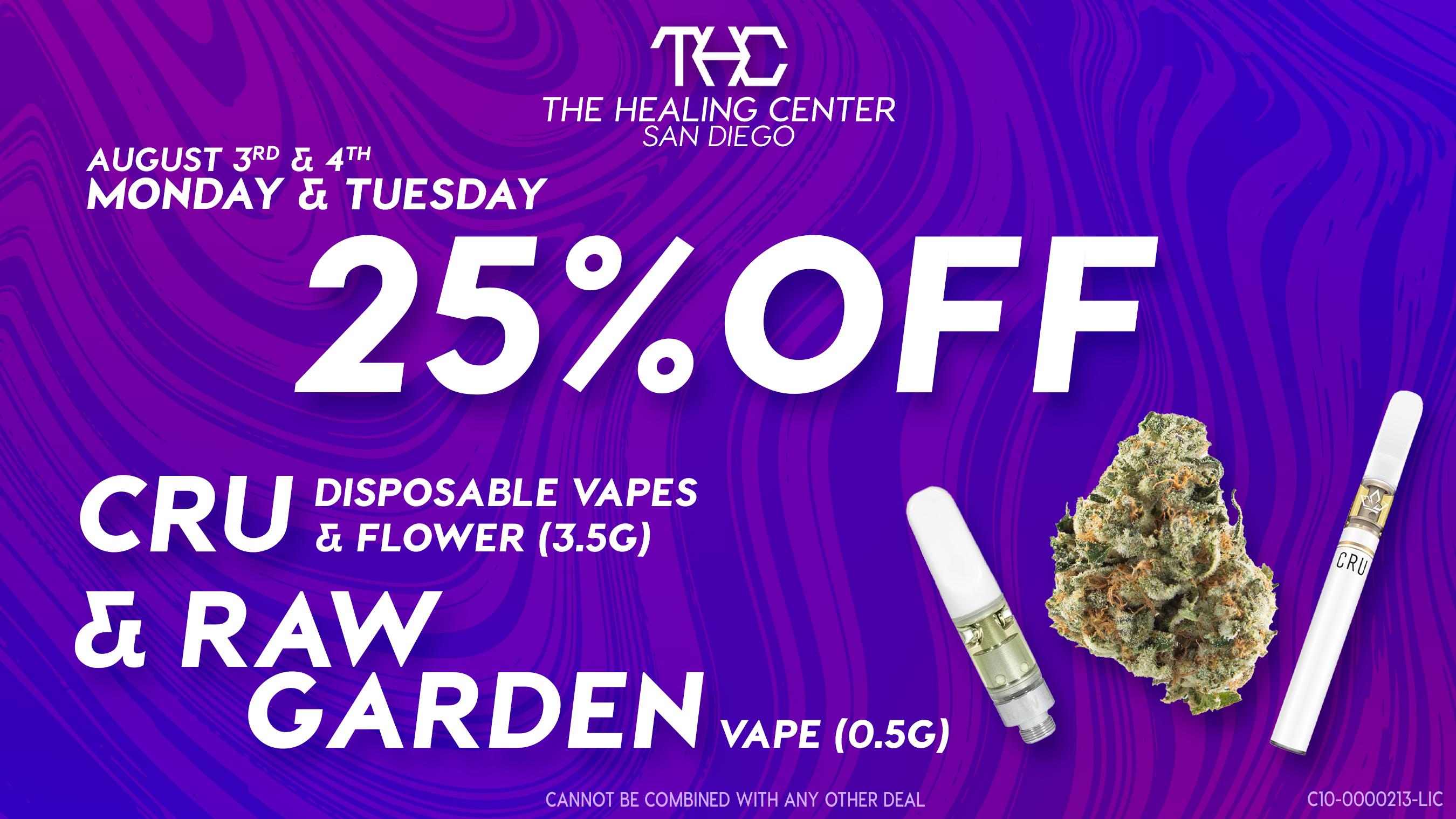 THCSD 25% OFF CRU & RAW Garden