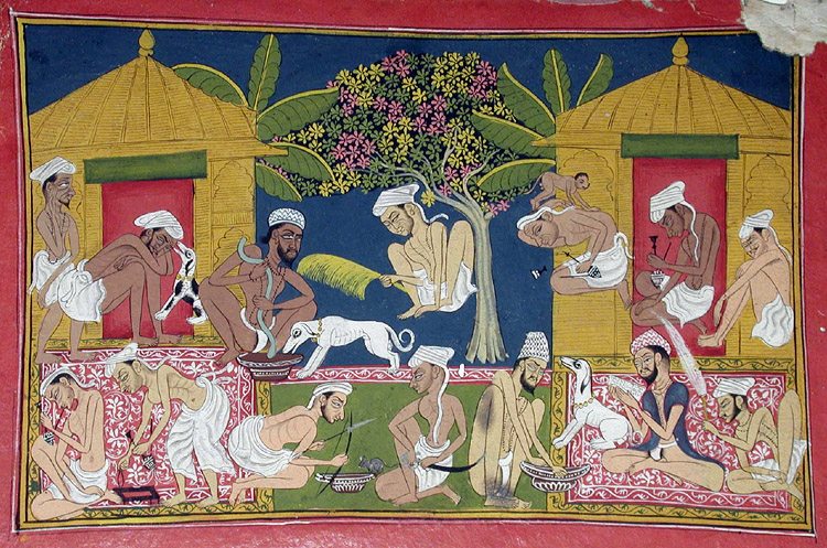 A depiction of people consuming bhang.