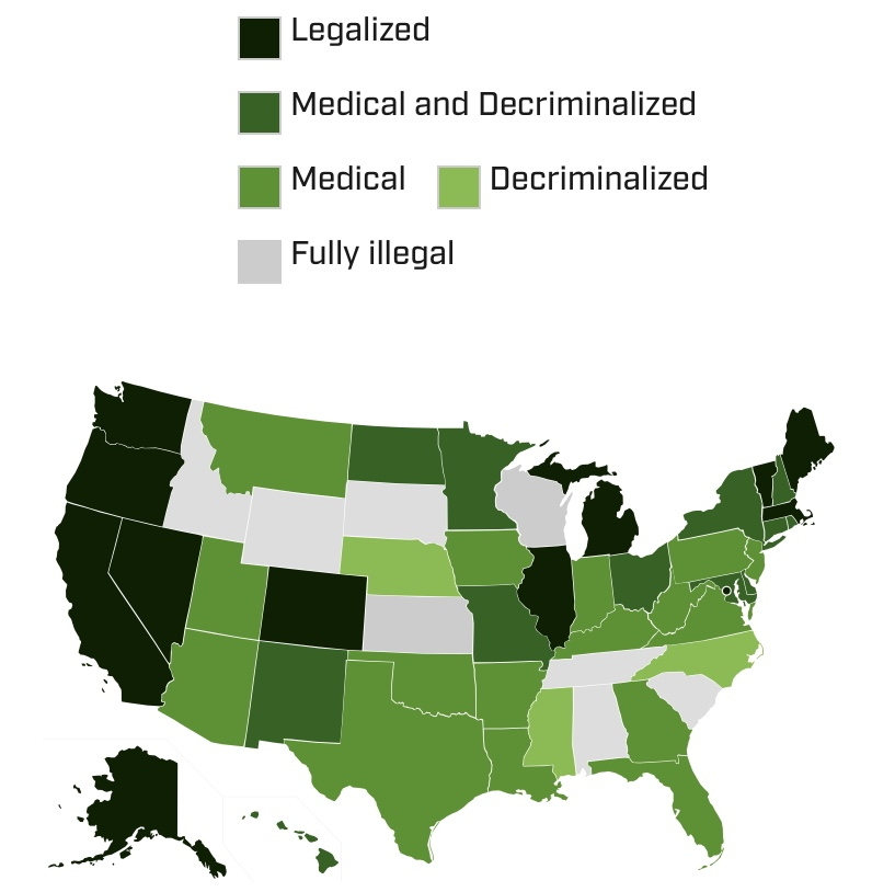 A map of the United States showing each state's legal stance on cannabis.