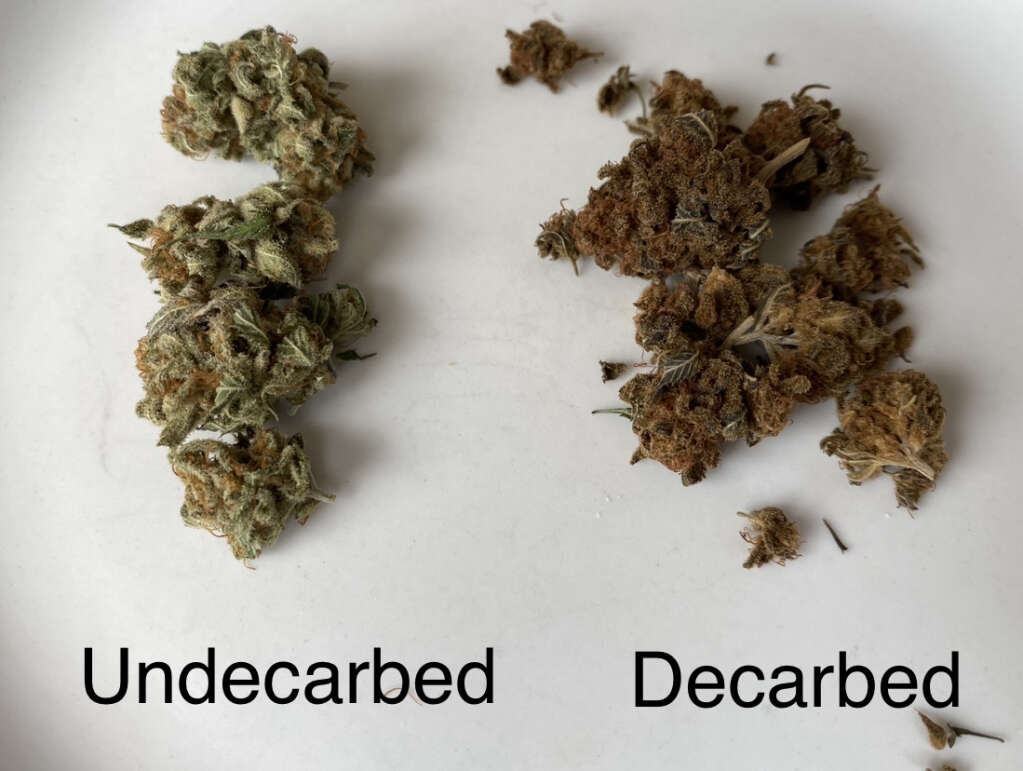 Decarboxylation uses controlled heat.