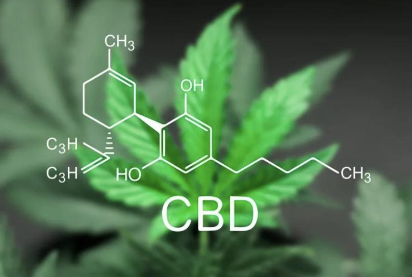 A visualization of the CBD molecule.